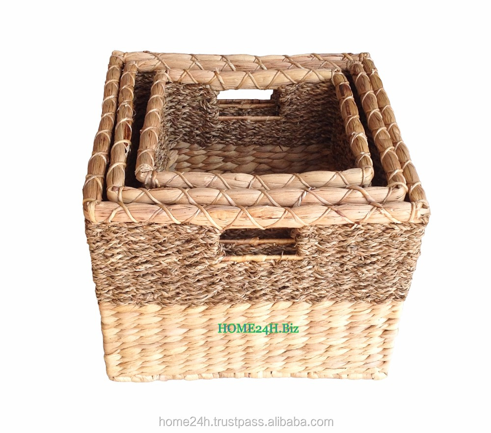 New product Best selling Home basket Vietnam craftsNatural wicker basket, Hyacinth Handmade Laundry Basket - Made in Vietnam