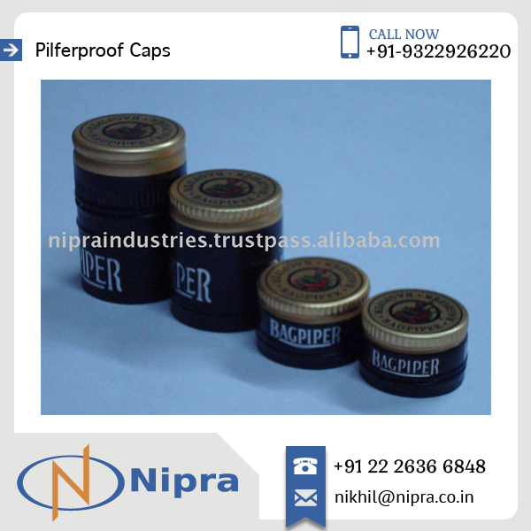 Attractive Pilfer Proof Caps of Aluminium with printed logo for Glass Bottle at Bulk Price