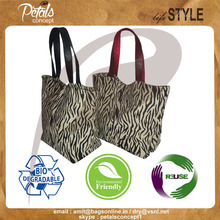 zebra print canvas tote bag with geninune leather handle