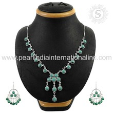 Fluorescence Turquoise Beads Jewelry Set Indian Wedding Silver Jewelry Set Supplier 925 Sterling Wholesaler Silver Jewelry