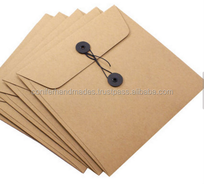custom made kraft paper string tie envelopes, kraft paper envelopes with string tie , logo printed kraft paper envelopes with st
