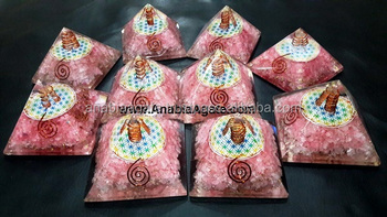 orgone pyramid : Wholesale Orgone Bulk Pyramid : Rose Quartz Orgone Pyramid With Flower Of Life Symbol