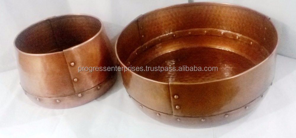 Copper finish Handmade Hammered Riveted Bowl for Decorative Home