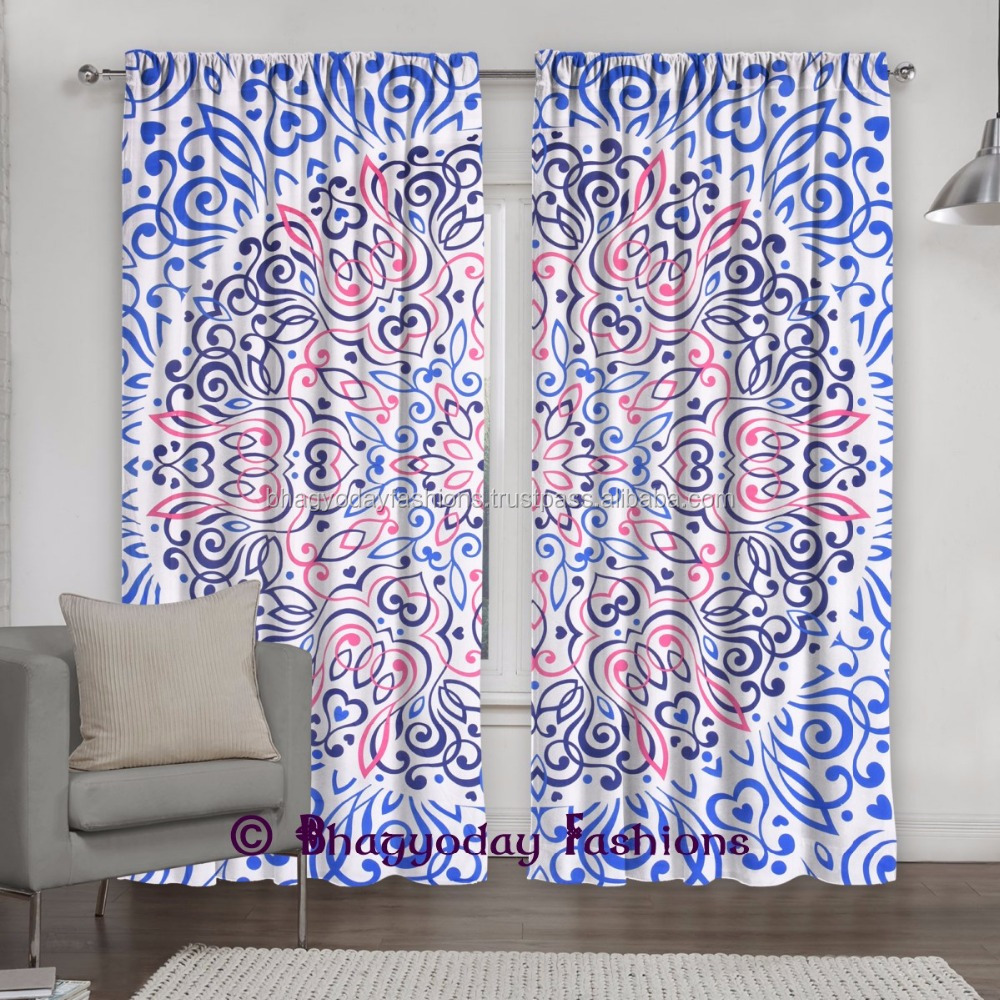 Sprial Window Treatment Bohemian Room Wall Curtains Decor Indian Mandala Tapestry Window Treatment Drape Fabric