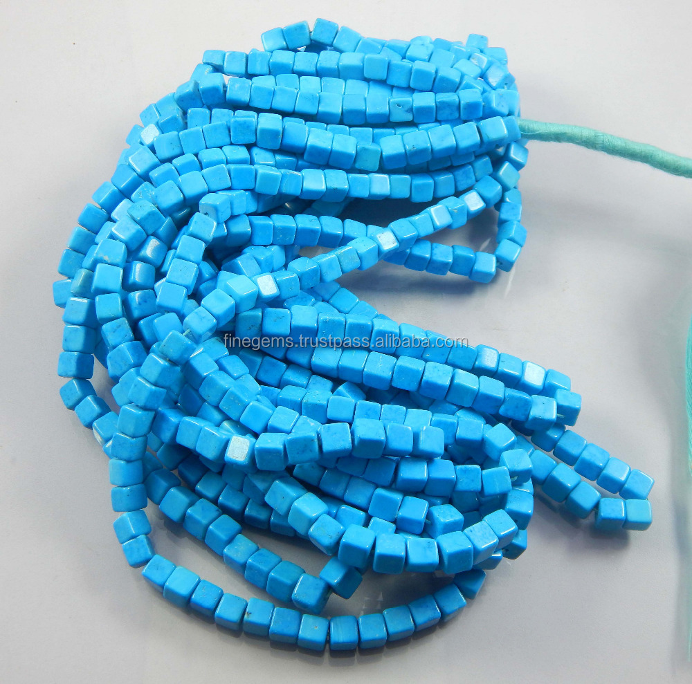 Natural Tibetan blue Turquoise, Box beads, cube beads