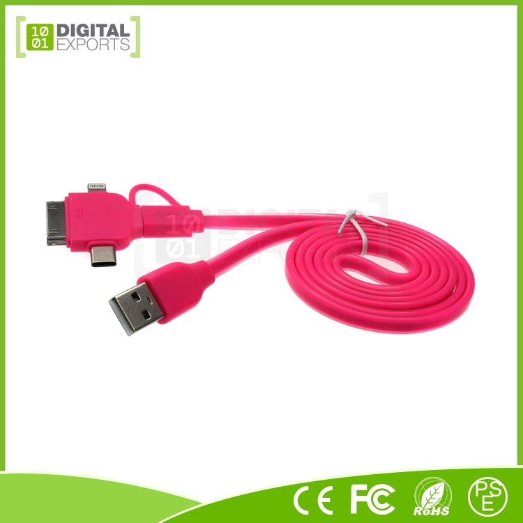 2017 high quality RoHS CE FCC custom usb 3.1 type c for 4, 5, 6, 6S, Android and type-C 4 in one cable