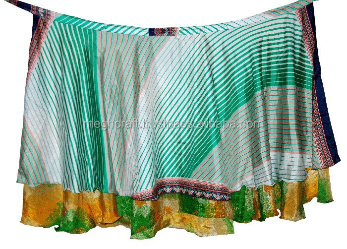 Wholesale Silk saree 2 layer skirts-Indian Silk Sari Magic Wrap Skirts Indian Printed Wrap Around Skirts-reversible silk skirts