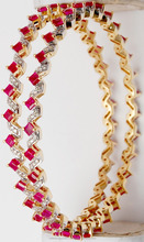 Zig Zag Pattern Princess Cut Ruby gemstone Yellow Gold Bangle