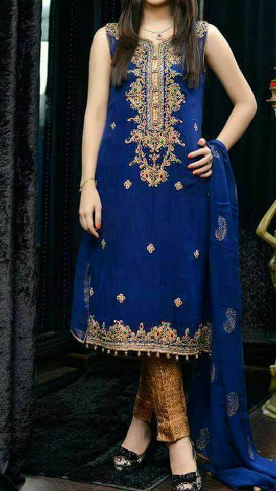 Royal Blue With Golden Embroidered Dresses For Ladies