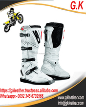 New Style 2017 White Mens motocross boots spiked genuine leather riding boots genuine leather riding boots