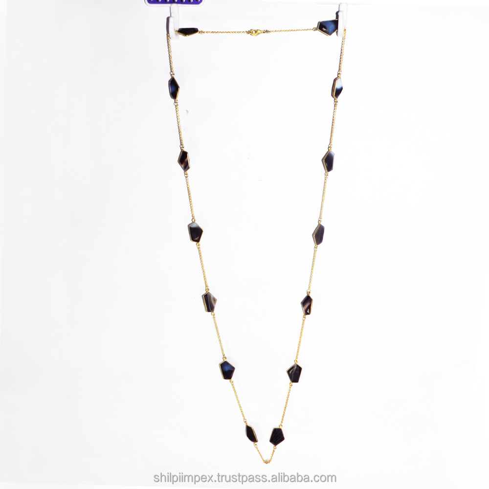 Primrose necklace - Black Banded Agate necklace - Gemstone long chain - 18k gold plated - Necklace - SINL0261