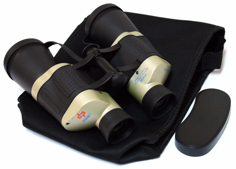 30X50 Black & Tan Free Focus Binoculars 119M/1000M With Strap Pouch