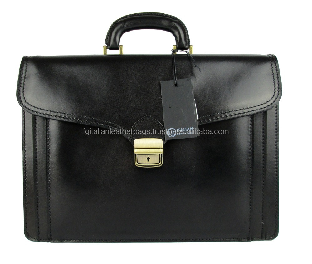BRIEFCASE MAN SHOULDER BAG GENUINE LEATHER MADE IN ITALY black