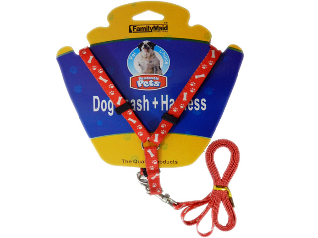 DOG LEASH + HARNESS 1.X1.2M RED, BLUE, PINK, PURPLE CLR, #19169