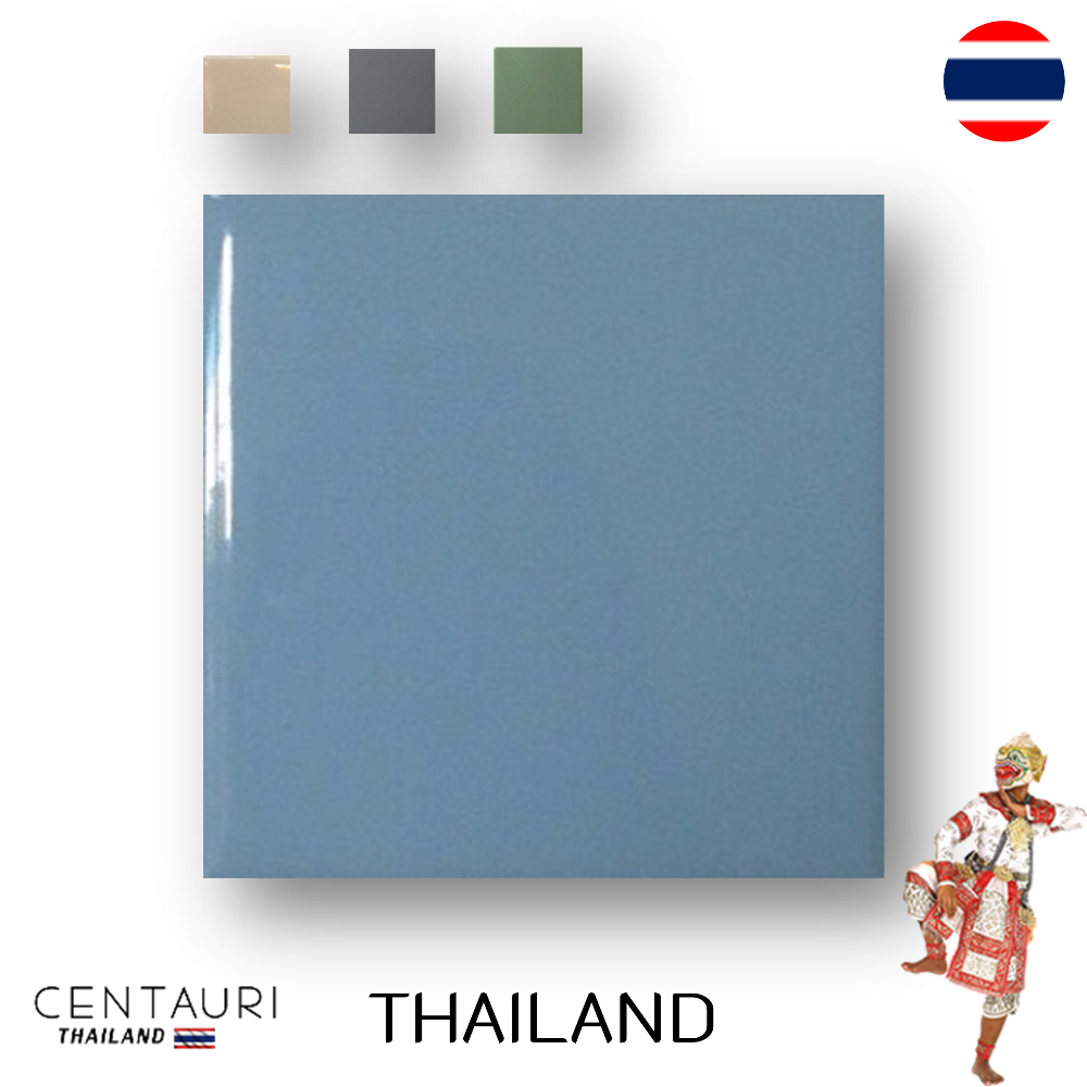 glazed 4.25''x4.25'' square early pink blue gray green smooth design Thai ceramic swimming pool tile and tile from Thailand