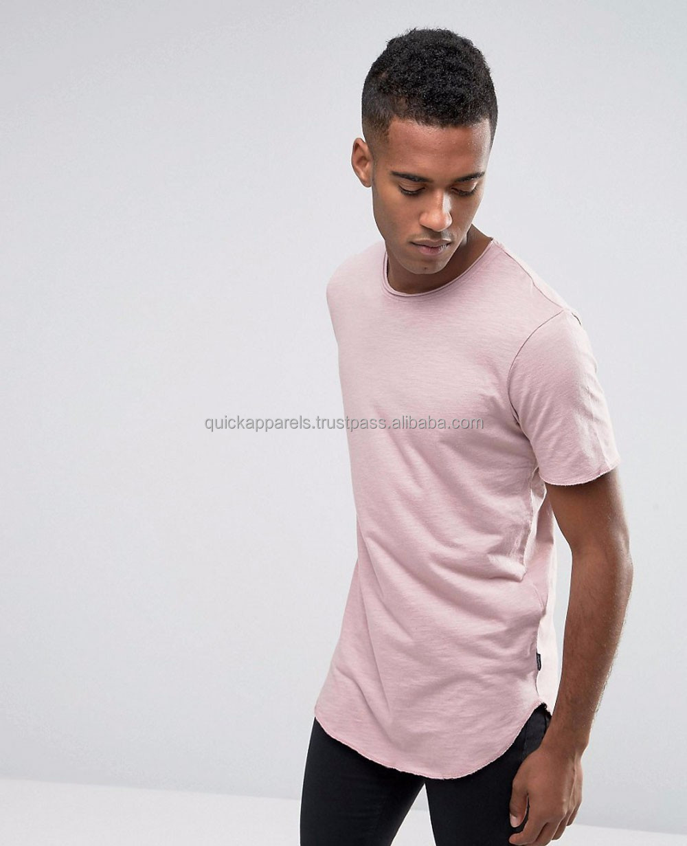 mens wholesale clothing asymmetric hem t-shirt fashion style long sleeve longline plain custom t shirt