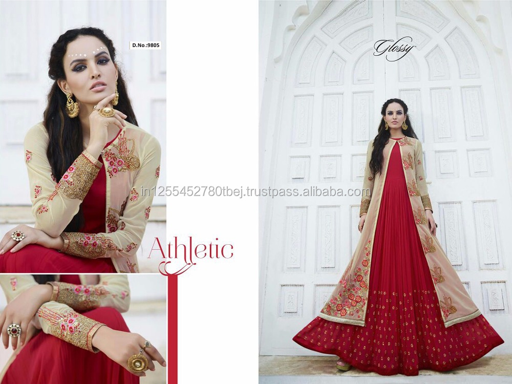Wholesale Red Indian Designer Embroidered georgette semi stitched salwar with dupatta