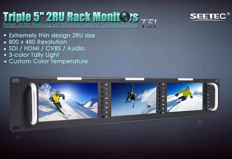 "New Design HD 3G-SDI Rack Mount Triple 5"" LCD Monitor"
