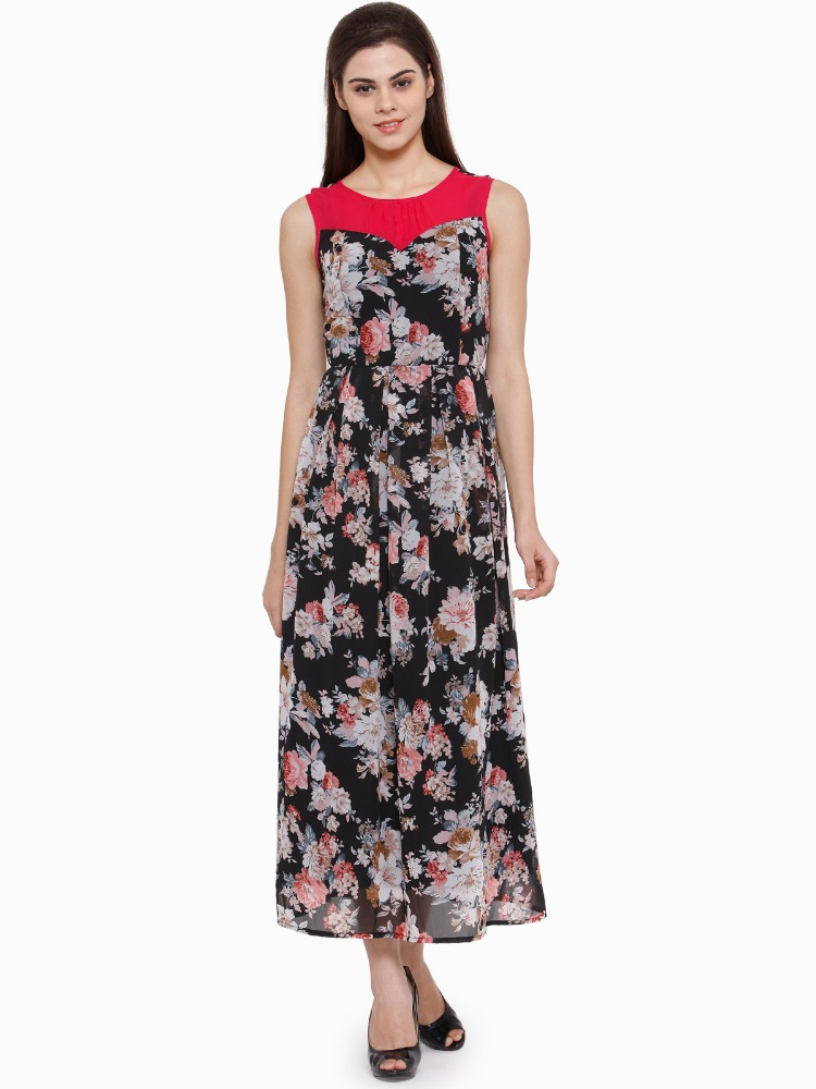 Ladies Printed Round Neck Georgette with Cotton Lining Maxi Dress - Round neck, Sleeveless - Casual wear - Manufacturer Exporter