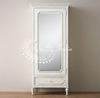 White Color One Drawer and One Glass Door French Style Wooden Almirah