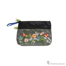 Embroidery silk coin purse with zipper, Fashion Vietnamese characteristics hand Embroideried fancy coin purse