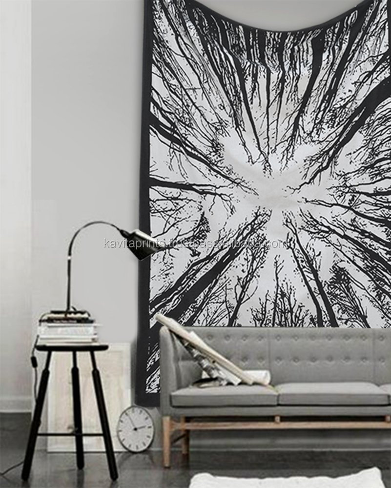 "tapestry wall hanging Locust Trees From Below Indian Bedspread Black & White Urban Tapestry, 54"" x 82"" (140cm x 15cm)"