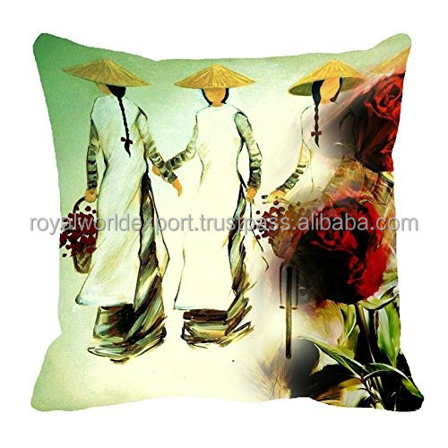 Custom Hot Sale Natural Cool Color Home Decoration Rose Digitally Printed Sofa Cushion Cover Throw Pillow Case
