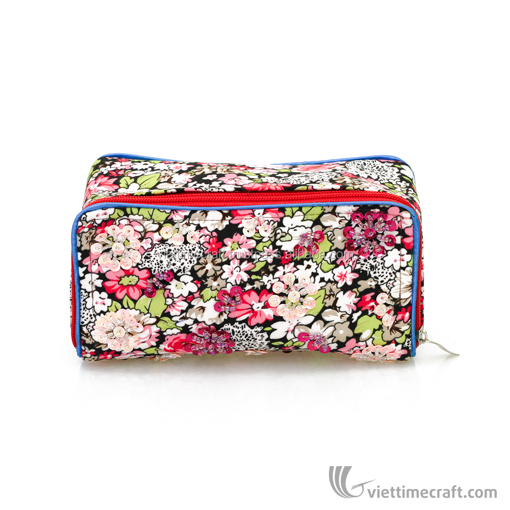 Vietnam cosmetic bag with zip, flower pattern makeup box case