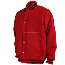 Custom High quality wool varsity baseball jacket with red wool sleeves, cheap plain college varsity jacket