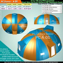 domes house,cafeteria, design poultry farm shed, pre coated PUF panels, industrial insulated prefabricated structures, FRP agric