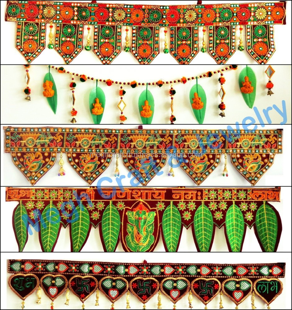 Indian ethnic wholesale handmade embroidery work-Traditional look Diwali decor items-Indian katchi work door hanging