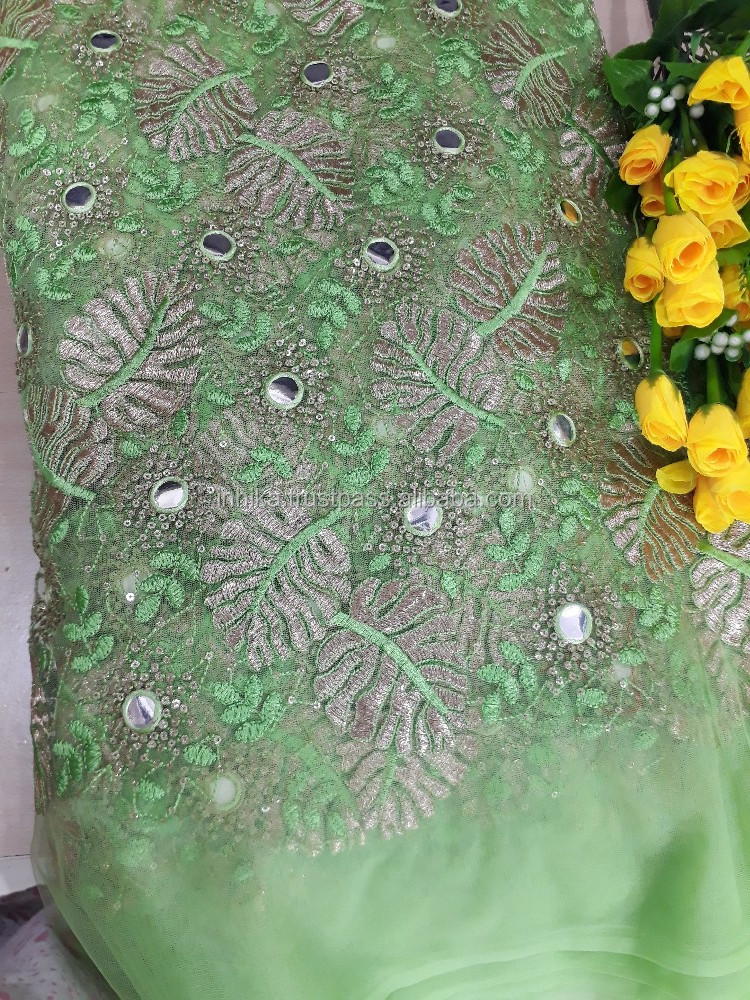 Lime Green Net fabric, gold green embroidery faux mirror, blouse dress material