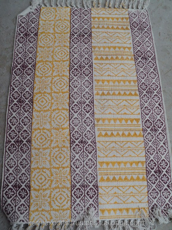 Indian Most Popular Design Hand-Block Printed Carpet & Rugs For Home Textile & Hotel