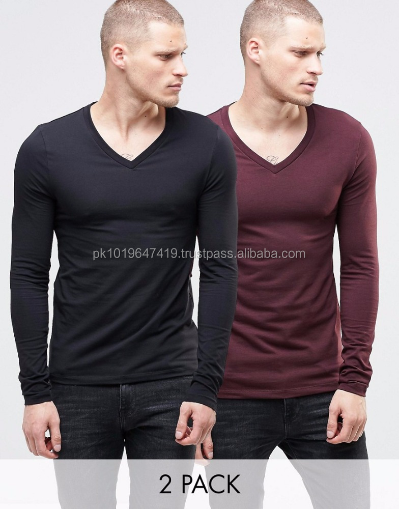 Extreme Muscle Long Sleeve T-Shirt With V Neck 2 PACK