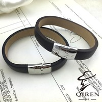 factory supply classical stainless steel jewelry black wide leather bangles magnetic snap bracelets best gift