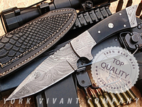 York Vivant-Custom Handmade Damascus Steel Fixed Blade Knife YV-516, Buffalo Horn, Mosaic Pin & Damascus Steel