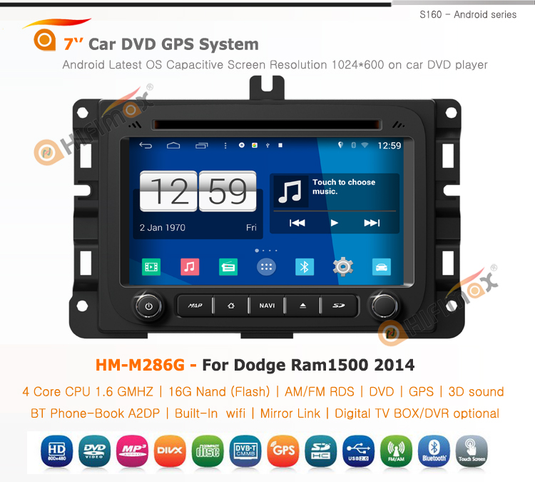 HIFIMAX Android car dvd radio for Dodge Ram1500 2014 with 4 Core CPU 16G Hard disk HD1024*600