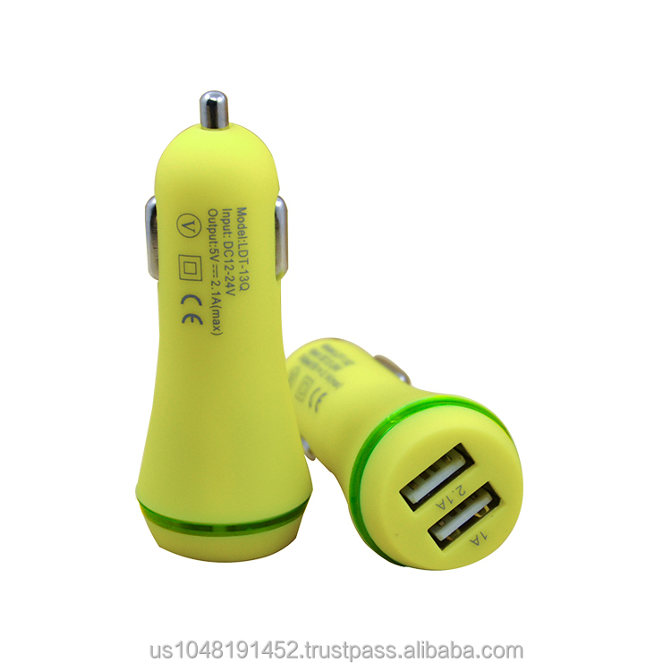 Brand new hot sale colorful dual usb car charger voltage 5V 2.1A ,charging fast