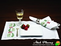 flower climbing detail hand embroidery 100% cotton high quality napkin for dinning room