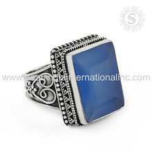 perfect Design Indian Silver Jewelry Chalcedony Natural Gemstone Ring 925 Silver Jewelry Supplier