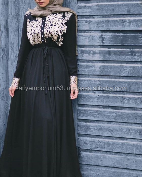 Unique Style Abaya Black Colour With Silver Hand Work Very Beautifull Abaya