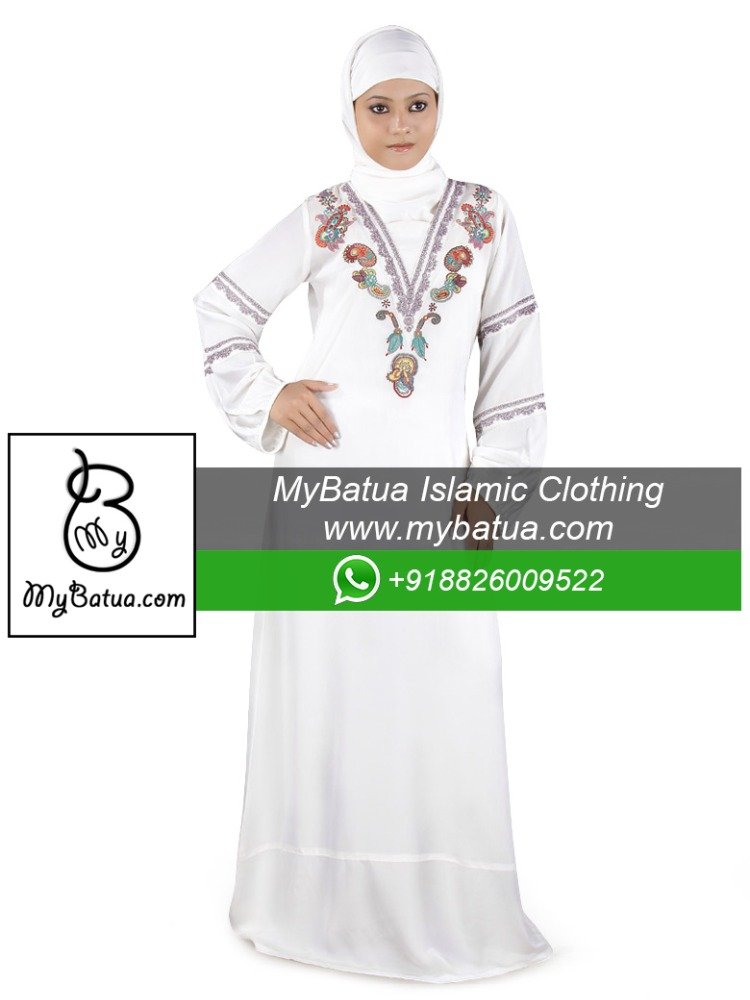 Wholesale, Islamic Clothing, Muslim Long Dress, Fancy Burka, Jilbab, Ladies Maxi, Nigar White Abaya AY-165