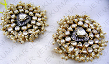 Big Antique Mughal Style Kundan Stone Pearl Beaded Tops Earrings
