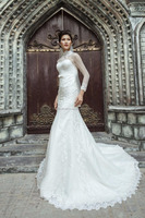 MERMAID CHAPEL LENGTH TRAIN LINES LIGHT BEADED WEDDING DRESS