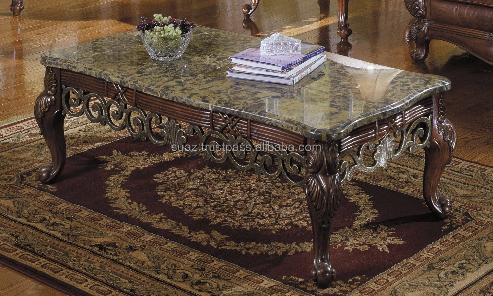 Wooden Carved marble top coffee tables , Marble top center tables , Wood centre table with marble granite top