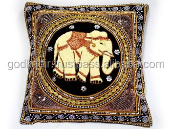 Thai Elephant Beads & Sequins Embroidered Cushion Pillow Case Cover/Pure silk beautiful Elephant printed design Cushion cover .