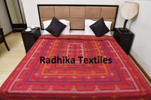 Handmade Kantha Quilt Throw Queen Size Ajrakh Bed cover Ajrakh Block Print G102