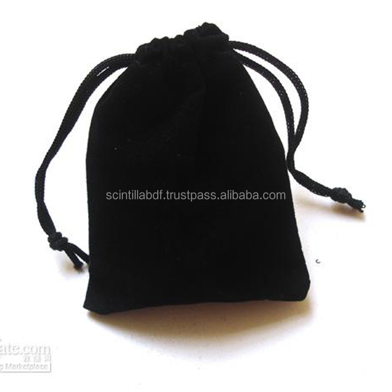 TCP027 black cotton drawstring bag