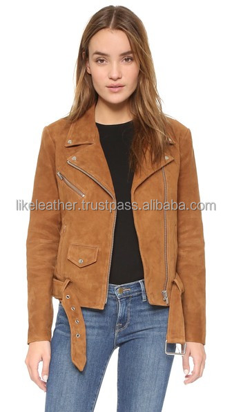 Slim fit stylish fashion suede leather jacket with belt for ladies