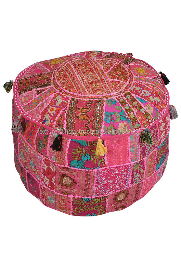 indian handmade puff ottoaman Banjara Puff Cover Handmade Cotton Round Patch Work
